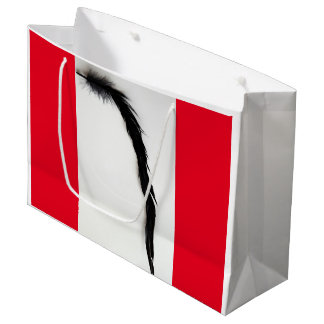 SINGLE BLACK FEATHER WITH RED LARGE GIFT BAG