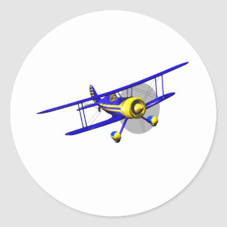 Single Blue Biplane Classic Round Sticker