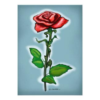 Single Red Rose Card Custom Invitations