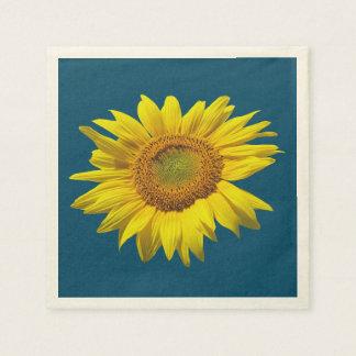Single Sunflower Dark Teal Paper Napkins