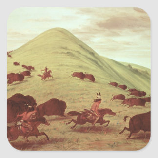 Sioux Indians hunting buffalo, 1835 (oil on canvas Square Sticker