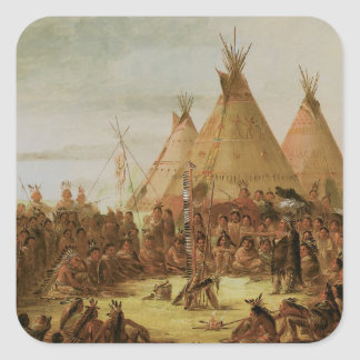Sioux War Council Square Sticker