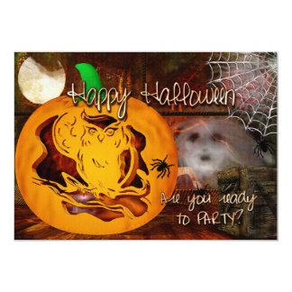 Sirens Haunted Halloween Pumpkin Carving 13 Cm X 18 Cm Invitation Card