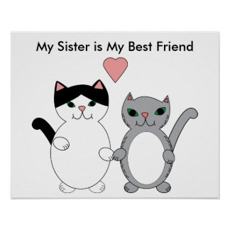 Sister Best Friend Cats Customizable Poster