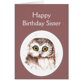 Sister Birthday Whooo Loves You, Cute Owl Humor Card