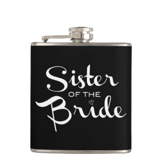 Sister of Bride White on Black Hip Flask