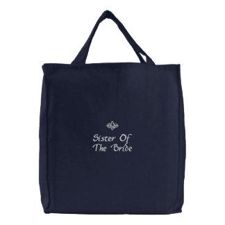 Sister Of The Bride Wedding Black Embroidered Bag
