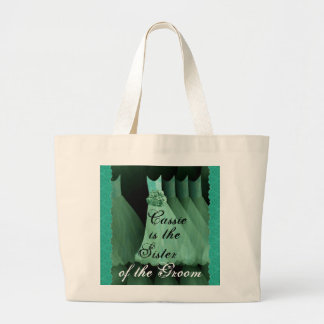 Sister of the Groom Green Bridesmaid Dresses Large Tote Bag