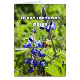 Sister Texas Bluebonnet Happy Birthday Greeting Card