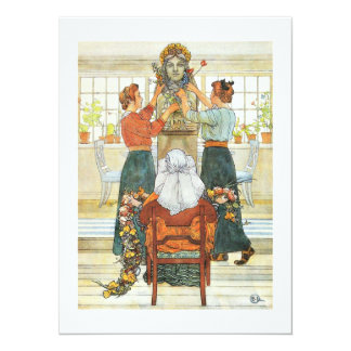 Sisters Decorating for Holiday 14 Cm X 19 Cm Invitation Card