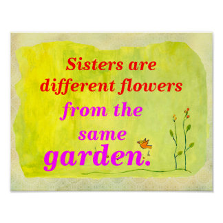 Sisters Different Flowers Print
