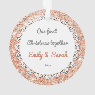 Sisters First Christmas Ornament Rose Gold Glitter