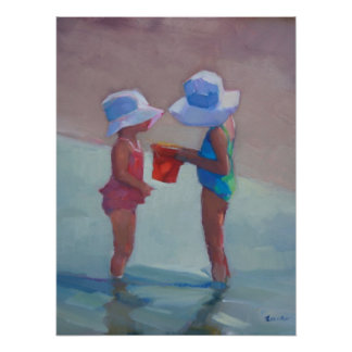 "Sisters in Sun Hats 18""x24""Poster Poster"