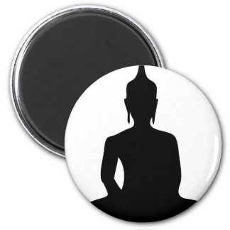 Sitting Buddha Silhouette Manget 6 Cm Round Magnet