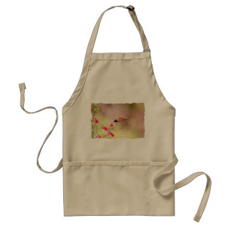 Sitting Hummingbird Sipping Flower Nectar Standard Apron