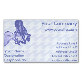 Sitting Mermaid Blue Magnetic Business Cards