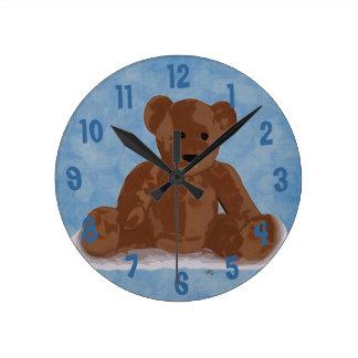 Sitting Teddy Bear (blue background) Clock