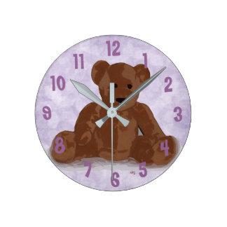Sitting Teddy Bear (purple background) Clock