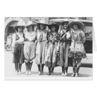 Six cowgirls at Cheyenne Frontier Days. Card