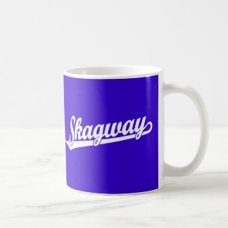 Skagway script logo in white coffee mug
