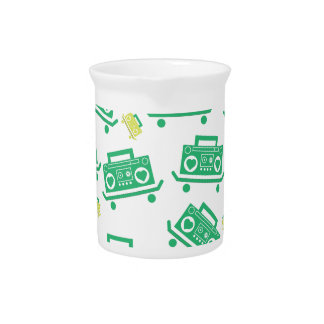 Skateboard boombox with hearts as speakers pattern beverage pitchers