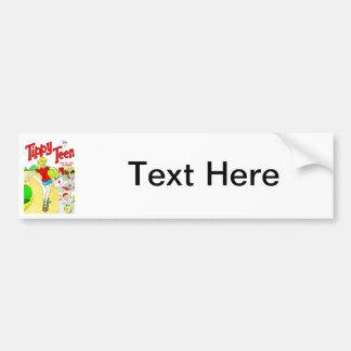 Skateboard Teen Girl Cartoon Bumper Sticker