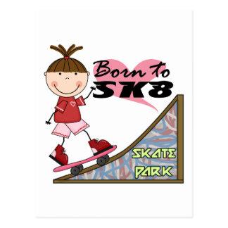 SKATEBOARDING - Brunette Girl Tshirts and Gifts Postcard