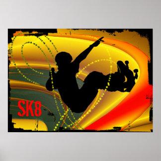 Skateboarding Silhouette in the Bowl Poster