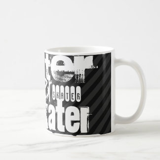 Skater; Black & Dark Gray Stripes Basic White Mug