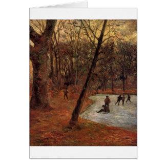 Skaters in Fredericksberg park by Paul Gauguin Greeting Card