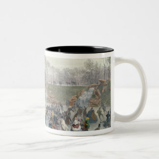 Skaters on the Lake at Bois de Boulogne Two-Tone Coffee Mug