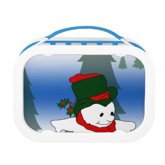 Skating Snowman in Red and Green Hat Lunch Box