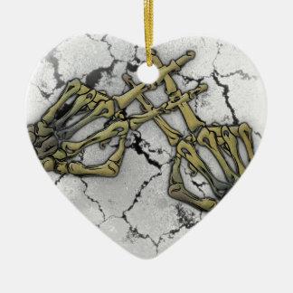 Skeleton Hand Horror Hashtag Ceramic Heart Decoration