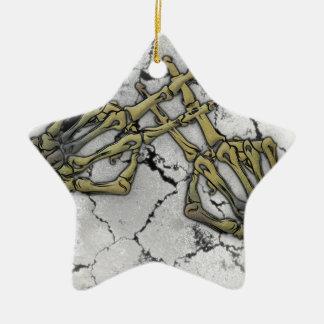 Skeleton Hand Horror Hashtag Ceramic Star Decoration
