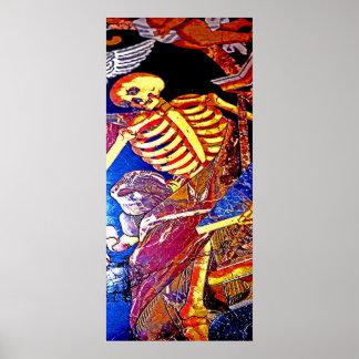 Skeleton on Floor Grave, Malta Poster