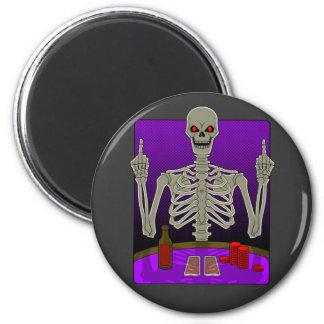 Skeleton Poker Flip 6 Cm Round Magnet