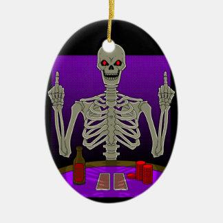 Skeleton Poker Flip Ceramic Oval Decoration