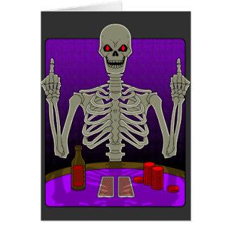 Skeleton Poker Flip Greeting Card