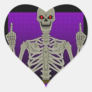Skeleton Poker Flip Heart Sticker