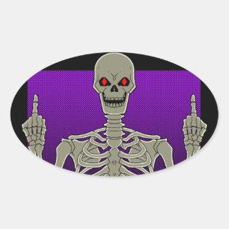 Skeleton Poker Flip Oval Sticker