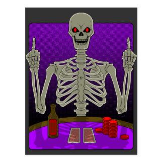 Skeleton Poker Flip Postcard