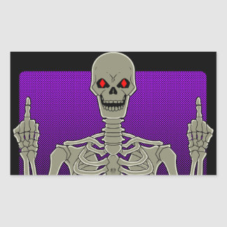 Skeleton Poker Flip Rectangular Sticker