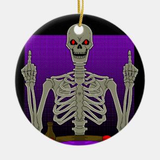 Skeleton Poker Flip Round Ceramic Decoration