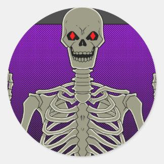 Skeleton Poker Flip Round Sticker