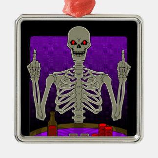 Skeleton Poker Flip Silver-Colored Square Decoration