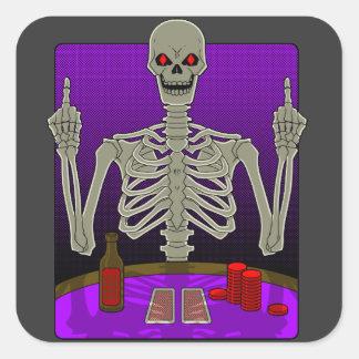 Skeleton Poker Flip Square Sticker