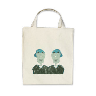 Skeleton twins/blue cap/black shirt tote bag