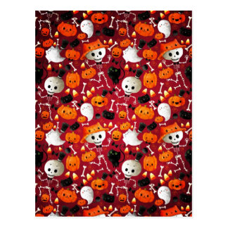 Skeletons and Pumpkins Pattern Postcard
