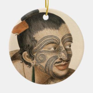 Sketch of a Maori Man, c. 1769 Christmas Ornament