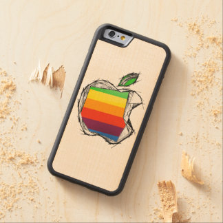 Sketch style Apple Logo Carved Maple iPhone 6 Bumper Case